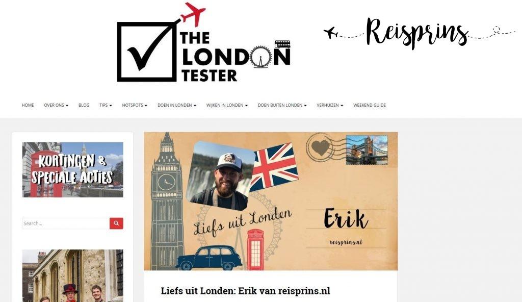 Een screenshot van het interview op de website van The London Tester.