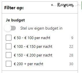 Simpele prijsfilter Booking.com