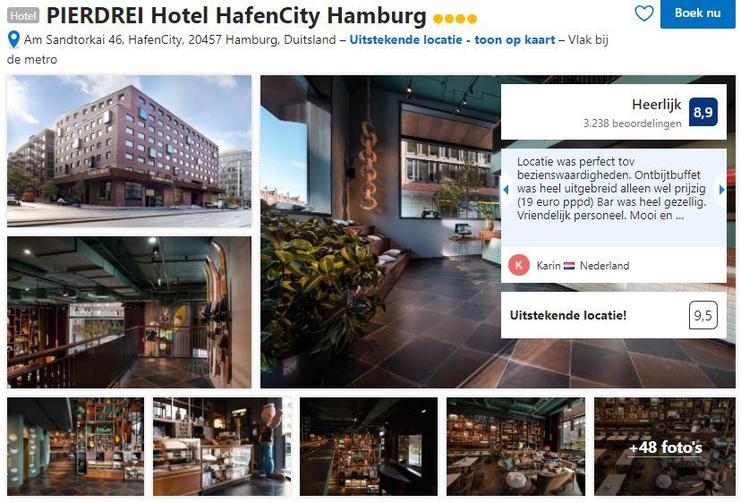 Het PIERDREI Hotel Hafencity Hamburg zoals je het kan vinden op Booking.com